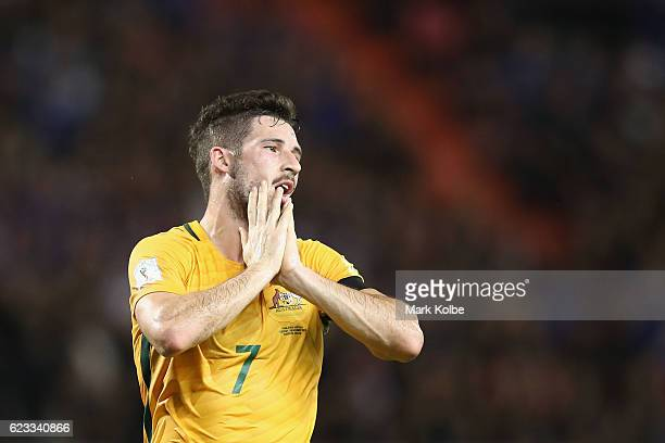 Mathew Leckie of the Socceroos shows his frustration after a missed chance during the 2018 FIFA World Cup Qualifier match between Thailand and the...