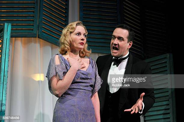 Mathew Macfadyen as Elyot and Lisa Dillon as Sybil in the production of Noel Coward's Private Lives directed by Richard Eyre at the Vaudeville...