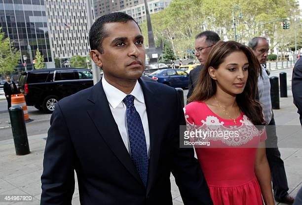 Mathew Martoma a former SAC Capital Advisors LP fund manager left and his wife Rosemary Martoma arrive at federal court for a sentencing hearing in...