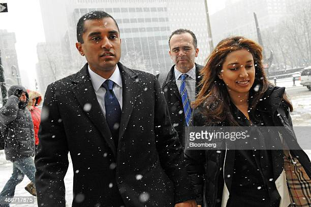 Mathew Martoma a former SAC Capital Advisors LP fund manager left arrives at federal court with his wife Rosemary Martoma right and his attorney...