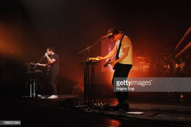 Mathew Murphy and Tord Overland-Kriudsen of The Wombats performs on stage at Brixton Academy on February 22, 2012 in London, United Kingdom.
