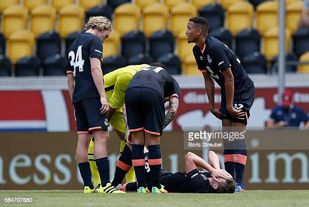 Mathew Pennington of FC Everton takes an injury during the Bundeswehr Karriere Cup Dresden 2016 match between FC Everton and Real Betis at DDVStadion...