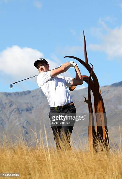 Mathew Perry of New Zealand teesoff at The Hills during the BMW ISPS Handa New Zealand Open on March 10 2016 in Queenstown New Zealand