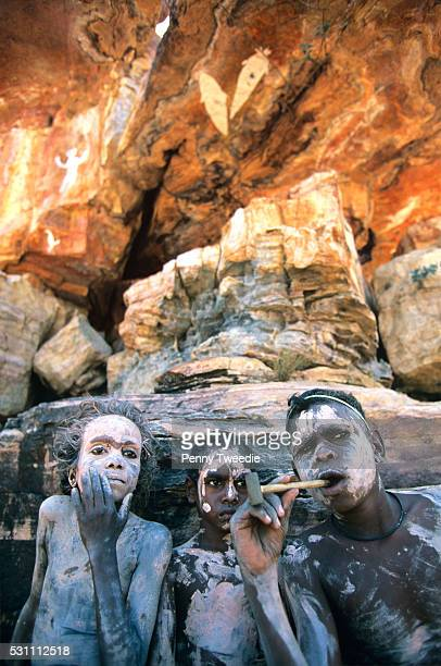 Mathew Rowen and Jeremiah painted up with white clay at Dukaladdjarranj a very special rock site in Central Arnhem Land On returning to their clan...