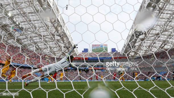 Mathew Ryan of Australia is beaten by a shot from Andre Carrillo of Peru for the opening goal during the 2018 FIFA World Cup Russia group C match...