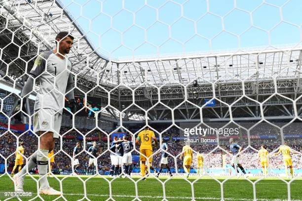 Mathew Ryan of Australia looks dejected after France scores the first goal from the penalty spot during the 2018 FIFA World Cup Russia group C match...