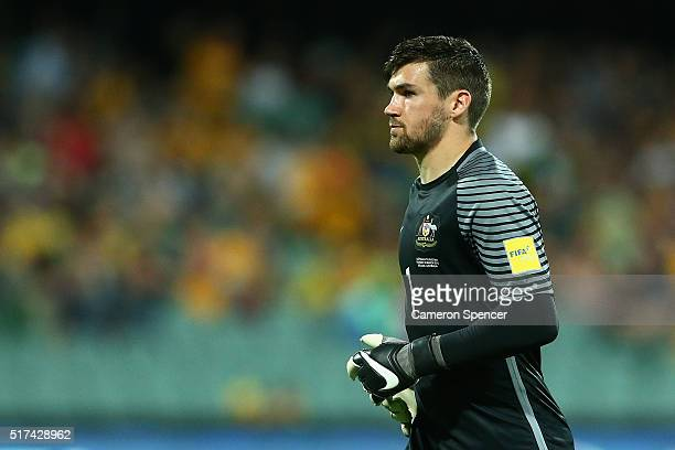 Mathew Ryan of Australia looks on during the 2018 FIFA World Cup Qualification match between the Australia Socceroos and Tajikistan at the Adelaide...