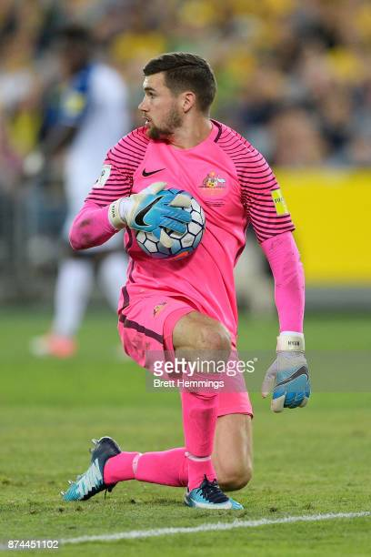 Mathew Ryan of Australia makes a save during the 2018 FIFA World Cup Qualifiers Leg 2 match between the Australian Socceroos and Honduras at ANZ...