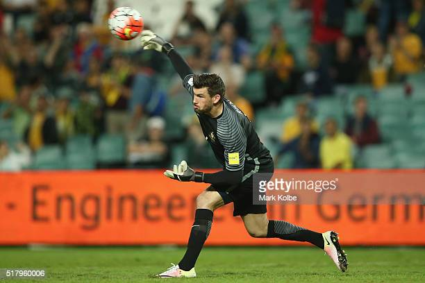 Mathew Ryan of Australia throws the ball out during the 2018 FIFA World Cup Qualification match between the Australian Socceroos and Jordan at...