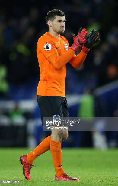Mathew Ryan of Brighton and Hove Albion applauds the fans after the Premier League match between Brighton and Hove Albion and Burnley at Amex Stadium...