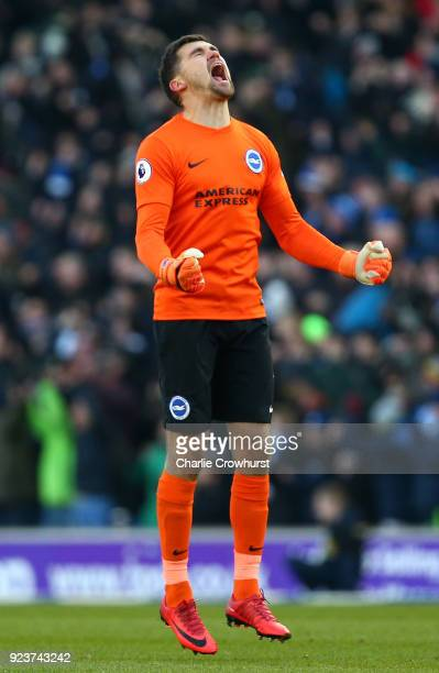 Mathew Ryan of Brighton and Hove Albion celebrates after his sides first goal during the Premier League match between Brighton and Hove Albion and...