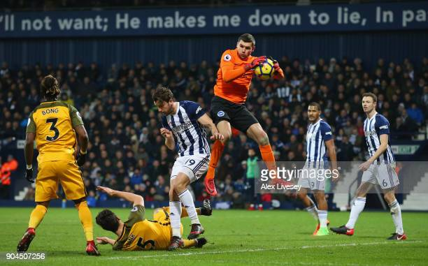 Mathew Ryan of Brighton and Hove Albion collects the ball during the Premier League match between West Bromwich Albion and Brighton and Hove Albion...