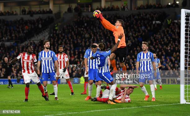 Mathew Ryan of Brighton and Hove Albion collects the ball from a cross during the Premier League match between Brighton and Hove Albion and Stoke...