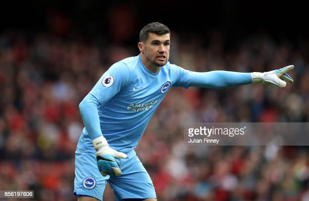 Mathew Ryan of Brighton and Hove Albion gives his team instructions during the Premier League match between Arsenal and Brighton and Hove Albion at...