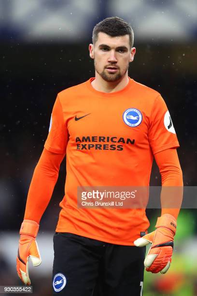 Mathew Ryan of Brighton and Hove Albion looks on during the Premier League match between Everton and Brighton and Hove Albion at Goodison Park on...