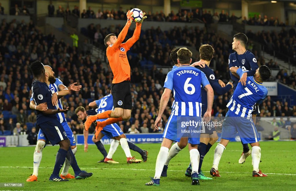Mathew Ryan of Brighton and Hove Albion makes a save during the Premier League match between Brighton and Hove Albion and Tottenham Hotspur at Amex Stadium on April 17, 2018 in Brighton, England.