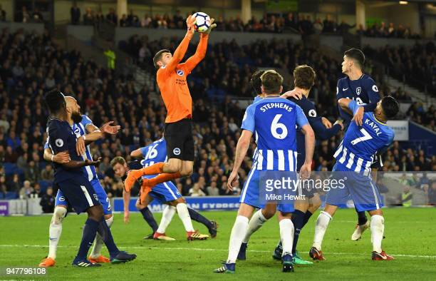 Mathew Ryan of Brighton and Hove Albion makes a save during the Premier League match between Brighton and Hove Albion and Tottenham Hotspur at Amex...