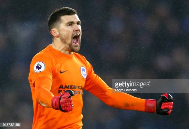 Mathew Ryan of Brighton and Hove Albion reacts during the Premier League match between Brighton and Hove Albion and West Ham United at Amex Stadium...