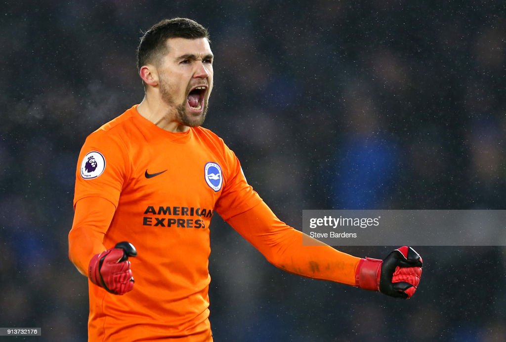 Mathew Ryan of Brighton and Hove Albion reacts during the Premier League match between Brighton and Hove Albion and West Ham United at Amex Stadium on February 3, 2018 in Brighton, England.