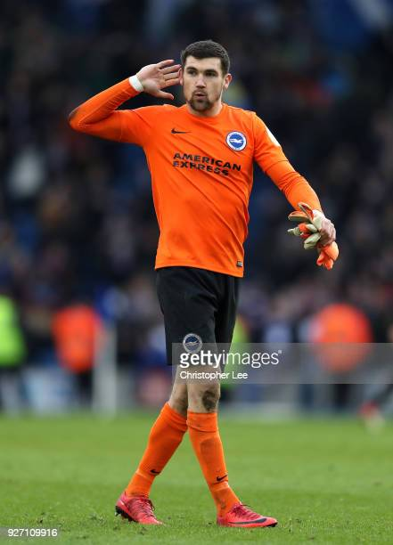 Mathew Ryan of Brighton and Hove Albion reacts during the Premier League match between Brighton and Hove Albion and Arsenal at Amex Stadium on March...