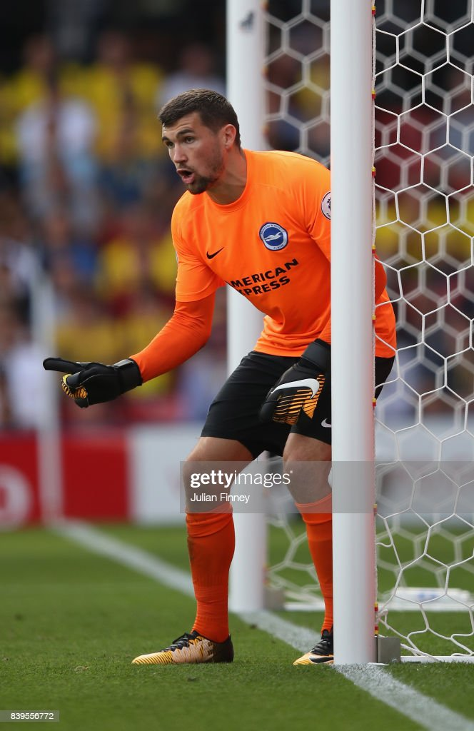 Mathew Ryan of Brighton gives instructions during the Premier League match between Watford and Brighton and Hove Albion at Vicarage Road on August 26, 2017 in Watford, England.