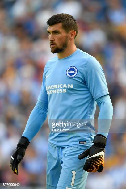 Mathew Ryan of Brighton looks on during a Pre Season Friendly between Brighton Hove Albion and Atletico Madrid at Amex Stadium on August 6 2017 in...