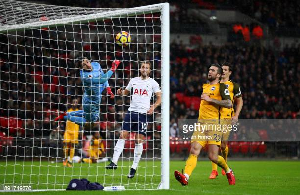 Mathew Ryan of Brighton nd Hove Albion fails to stop Serge Aurier of Tottenham Hotspur shot for Tottenham Hotspur first goal during the Premier...
