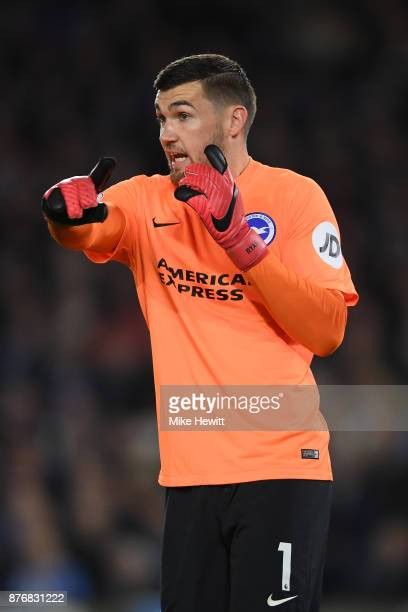 Mathew Ryan of Brighton shouts instructions during the Premier League match between Brighton and Hove Albion and Stoke City at Amex Stadium on...
