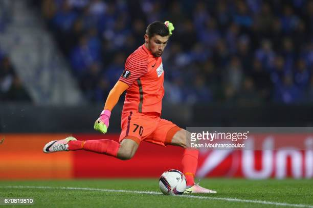Mathew Ryan of Genk clears the ball during the UEFA Europa League quarter final second leg between KRC Genk and Celta Vigo at Luminus Arena on April...