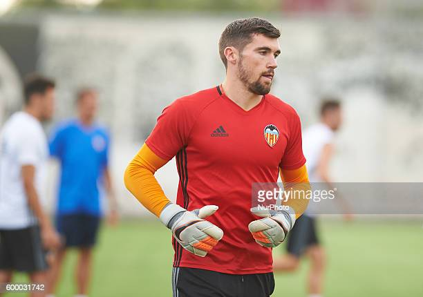 Mathew Ryan of Valencia CF warms up during a training session at Ciudad Deportiva training ground on September 7 2016 in Valencia Spain