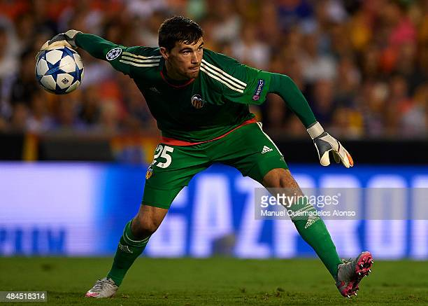 Mathew Ryan of Valencia in action during the UEFA Champions League Qualifying Round Play Off First Leg match between Valencia CF and AS Monaco at...