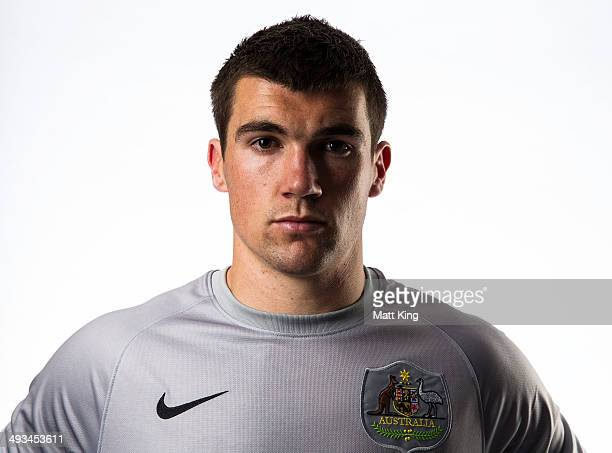 Mathew Ryan poses during an Australian Socceroos portrait session at the Intercontinental on May 23 2014 in Sydney Australia