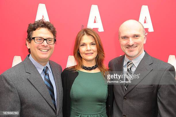 Mathew Silver Cathryn Erbe and Christian Parker attend the Atlantic Theater Company Spring Gala at 583 Park Avenue on February 25 2013 in New York...