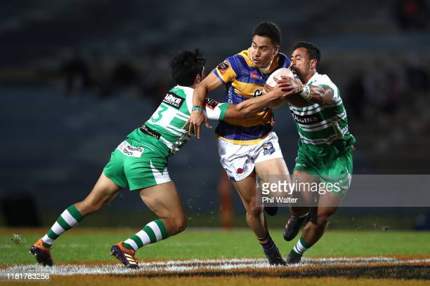 Mathew Skipwith-Garland of Bay of Plenty is tackled during the Mitre 10 Cup Championship Semi Finals match between Bay of Plenty and Manawatu at...