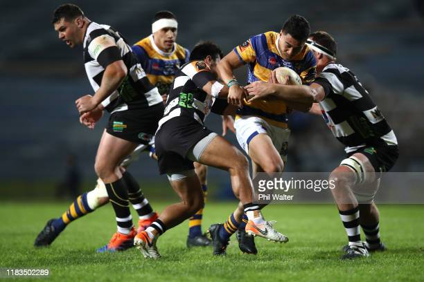 Mathew Skipworth-Garland of Bay of Plenty is tackled during the Mitre 10 Cup Championship Final between Bay of Plenty and Hawke's Bay at Rotorua...