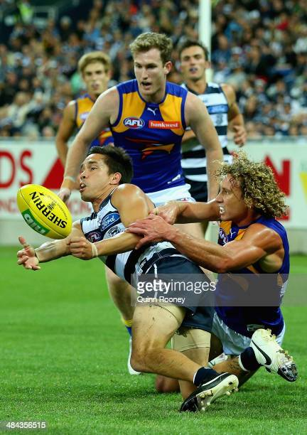 Mathew Stokes of the Cats handballs whilst being tackled by Matt Priddis of the Eagles during the round four AFL match between the Geelong Cats and...