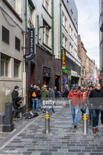 mathew street liverpool - liverpool barcelona stock pictures, royalty-free photos & images
