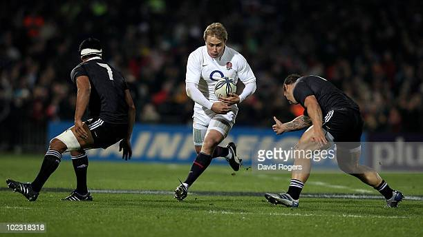 Mathew Tait of England charges upfield during the international rugby match between the New Zealand Maori and England at McLean Park on June 23 2010...