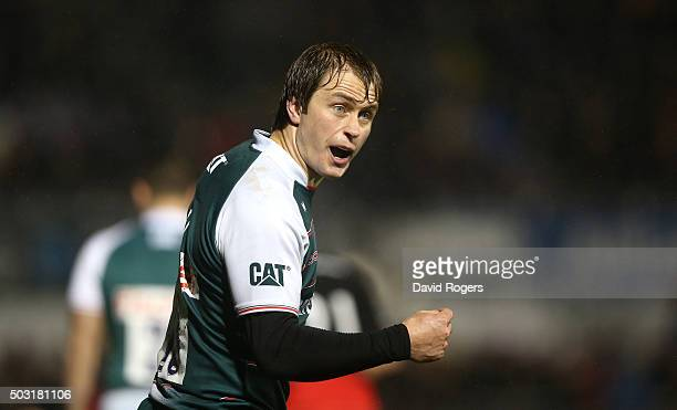 Mathew Tait of Leicester issues instructions during the Aviva Premiership match between Saracens and Leicester Tigers at Allianz Park on January 2...