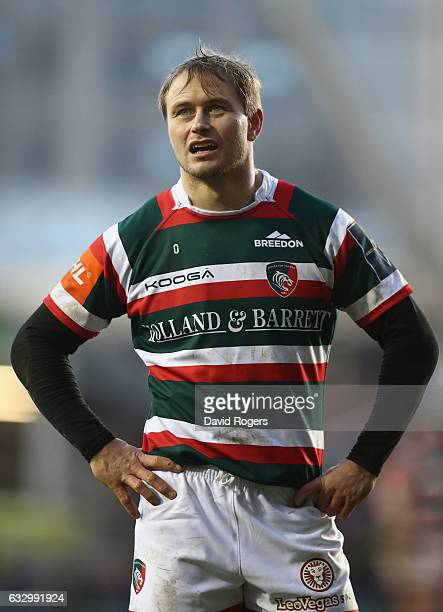Mathew Tait of Leicester looks on during the AngloWelsh Cup match between Leicester Tigers and Northampton Saints at Welford Road Stadium on January...