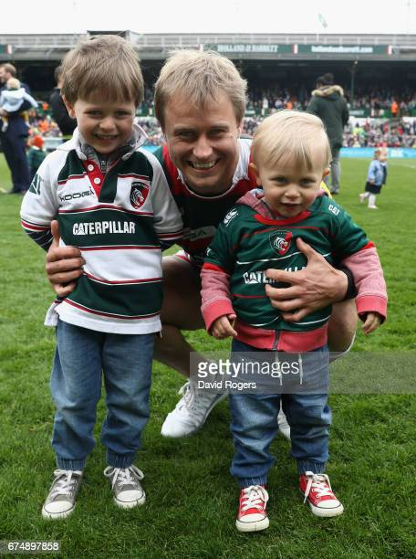 Mathew Tait of Leicester poses with his children on the lap of honour during the Aviva Premiership match between Leicester Tigers and Sale Sharks at...