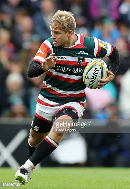 Mathew Tait of Leicester runs with the ball during the Aviva Premiership match between Leicester Tigers and Wasps at Welford Road on September 10...