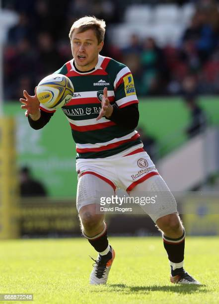 Mathew Tait of Leicester runs with the ball during the Aviva Premiership match between Leicester Tigers and Newcastle Falcons at Welford Road on...