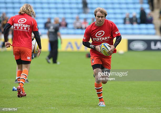 Mathew Tait of Leicester runs with the ball in the warm up prior to the Aviva Premiership match between Wasps and Leicester Tigers at The Ricoh Arena...