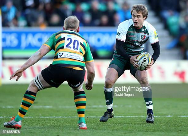 Mathew Tait of Leicester takes on Ben Nutley during the Aviva Premiership match between Northampton Saints and Leicester Tigers at Franklin's Gardens...