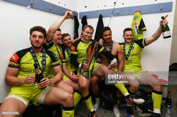 Mathew Tait of Leicester Tigers and teammates celebrate with the trophy following their team's 1612 victory during the AngloWelsh Cup Final between...