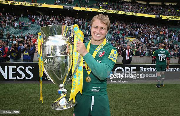 Mathew Tait of Leicester Tigers celebrates after their victory during the Aviva Premiership Final between Leicester Tigers and Northampton Saints at...