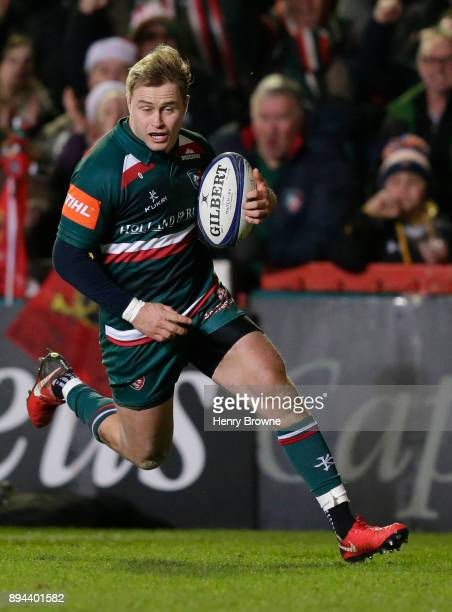 Mathew Tait of Leicester Tigers during the European Rugby Champions Cup match between Leicester Tigers and Munster Rugby at Welford Road on December...