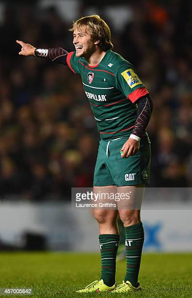 Mathew Tait of Leicester Tigers in actioin during the Aviva Premiership match between Leicester Tigers and Harlequins at Welford Road on October 10...