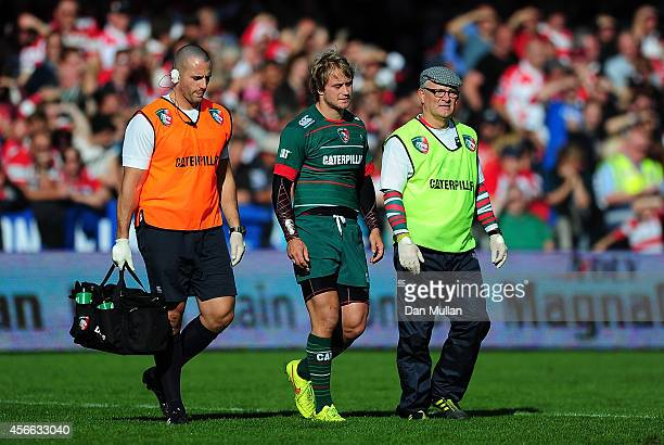 Mathew Tait of Leicester Tigers is forced to leave the field with an injury during the Aviva Premiership match between Gloucester and Leicester...